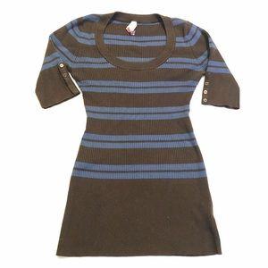 Chocolate Brown Blue Stripe 3/4 Sleeve Sweater M